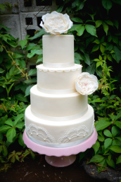 Flowers Lace Pearls Wedding Cake